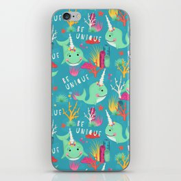 Narwhal Be Unique Pattern iPhone Skin