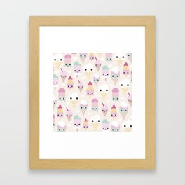 Cute kawaii summer Japanese ice cream cones and popsicle p Framed Art Print