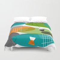 mid century modern Duvet Covers featuring Mid-Century Modern Atomic Ovals by Kippygirl
