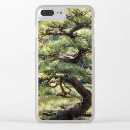 Sculptural pine trees in a Zen Garden in Kyoto. Clear iPhone Case