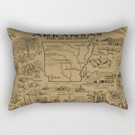 Vintage Map of Arkansas (1912) - Tan Rectangular Pillow