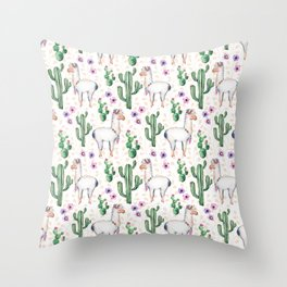 Llama Llamarama + Cactus Throw Pillow