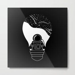 Space Odyssey   Lightbulb   Astronaut   Black and White   Cosmos   Stars   Galaxy   pulp of wood Metal Print