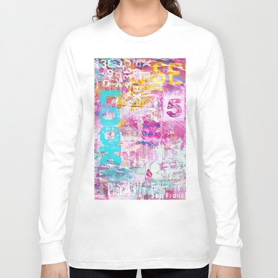 colorful mixed media typography Long Sleeve T-shirt
