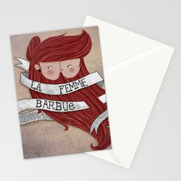 Bearded woman Stationery Cards
