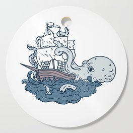 Kraken Attacking Sailing Galleon Doodle Art Color Cutting Board