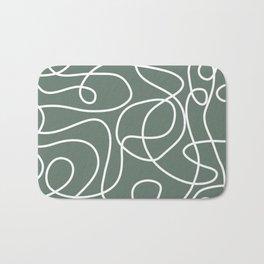 Doodle Line Art | White Lines on Dark Gray Green Bath Mat