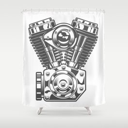Vintage motorcycle engine in design fashion modern monochrome style illustration Shower Curtain