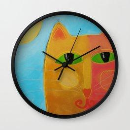 Orange Cat and Sun Abstract Digital Cat Painting Wall Clock