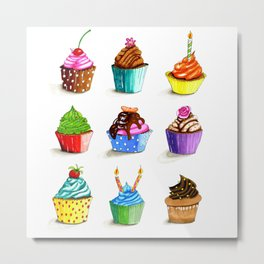 Illustration of tasty cupcakes Metal Print