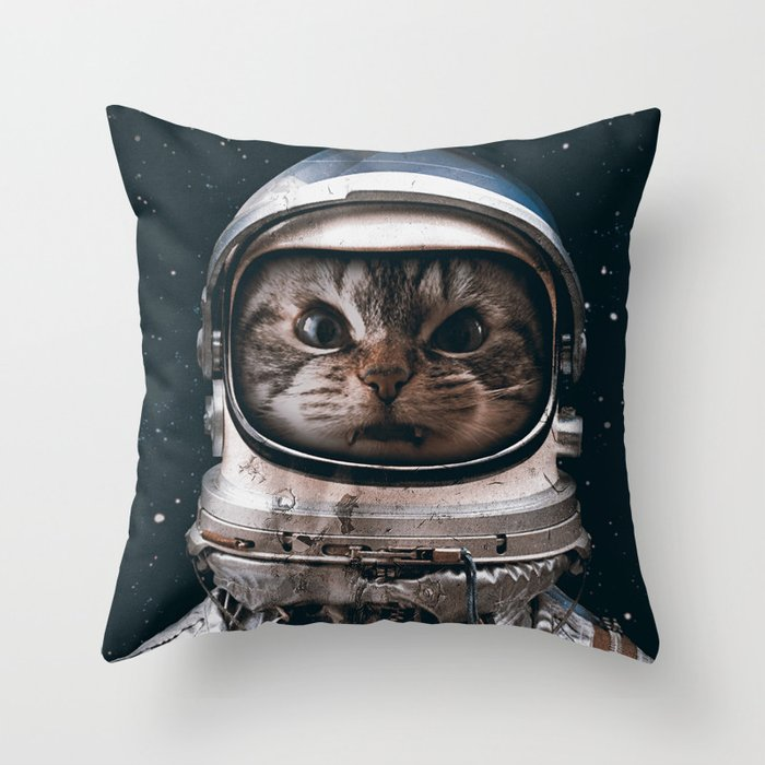 Space catet Throw Pillow