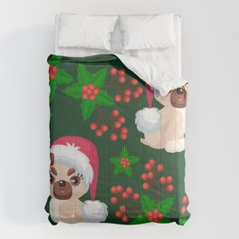 Cute, Cranky Christmas Puppies With Eyelash Extensions Pattern Comforters