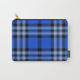 Argyle Fabric Plaid Pattern Blue and Black Carry-All Pouch