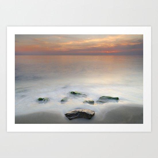 Calm red sunset at the beach Art Print