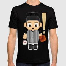 Baseball - Black and White MEDIUM Mens Fitted Tee Black