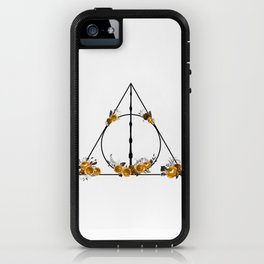 Deathly Hallows in Gold and Gray iPhone Case