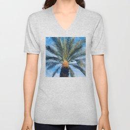 Sun-Dipped Tropical Palm Tree in Azure Blue Sky Unisex V-Neck