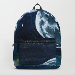 Full Moon Mixed Media Painting Backpack