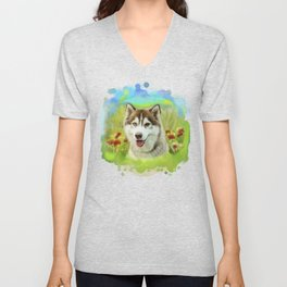 Siberian husky Fleur and red poppies watercolor design Unisex V-Neck