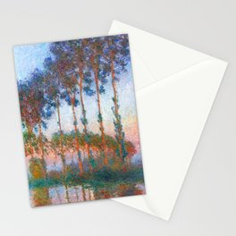 Claude Monet: Poplars on the banks of the River Epte, Sunset Stationery Cards