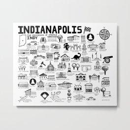 Indianapolis Indiana Map Metal Print