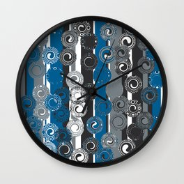 Blue and Black Swirls Wall Clock