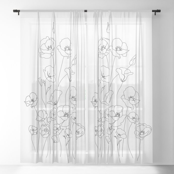 Poppy Flowers Line Art Sheer Curtain