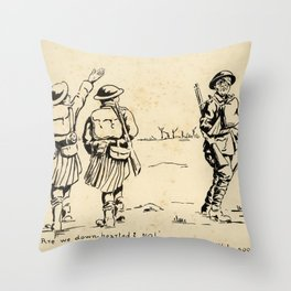 Vintage First World War Art - JM's Sketchbook - Are we down-hearted? No! Throw Pillow