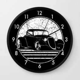 Retro Hot Rod Grungy Sunset Illustration Wall Clock