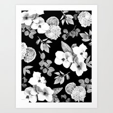 Night bloom - moonlit bw Art Print