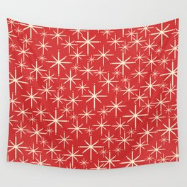 Atomic Age Christmas Stars - Midcentury Modern Pattern in Cream and Retro Xmas Red Wall Tapestry