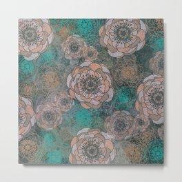 Peony Flowers Peach and Green Metal Print