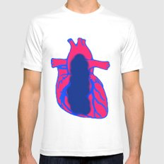 Vacant Heart MEDIUM White Mens Fitted Tee