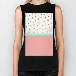 Coral teal color block faux gold foil polka dots pattern Biker Tank