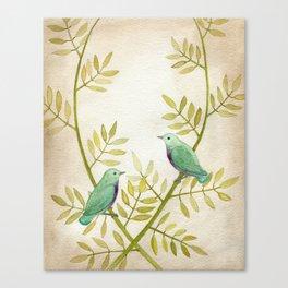 Celadon Birds Canvas Print