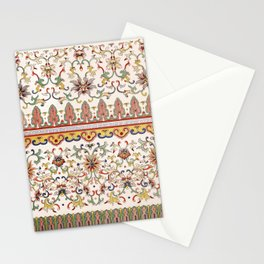 Asian Floral Pattern 6 in White Antique Stationery Cards