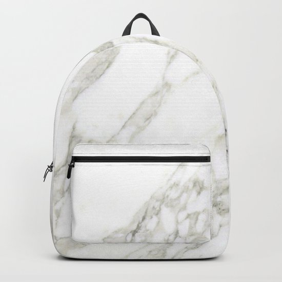 White Real Marble Backpack