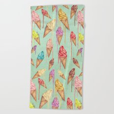 melted ice creams Beach Towel