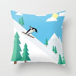 Downhill Skiing Penguin Throw Pillow
