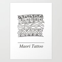 maori Art Prints featuring Maori Tattoo by Harvey Depp