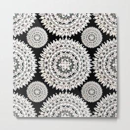 Black and Metallic White Floral Textile Mandala Metal Print
