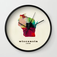 Wisconsin state map modern Wall Clock