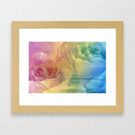 Rainbow Rose Water Abstract Framed Art Print