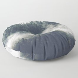 Abstract Forest Fog Floor Pillow