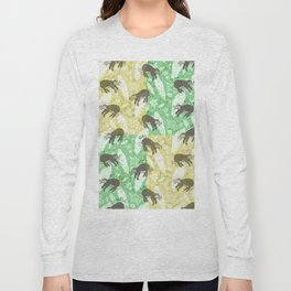 Mozaic Lazy Boho Sloth On Yellow and Green Background Long Sleeve T-shirt