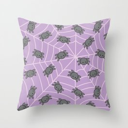 Pastel goth kawaii spiders purple Throw Pillow
