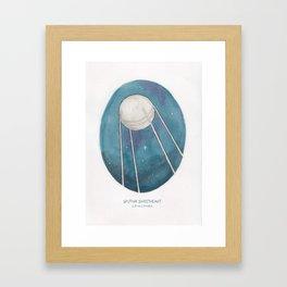 Haruki Murakami's Sputnik Sweetheart // Illustration of the Sputnik Satellite in Space in Pencil  Framed Art Print