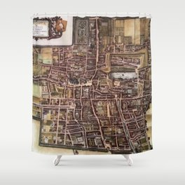 Replica city map of The Hague 1649 Shower Curtain