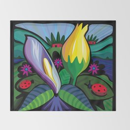 Blooming Flowers (Square Format) Throw Blanket