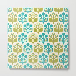Mid Century Garden Flower Pattern Turquoise Chartreuse Metal Print